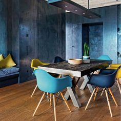 Classic Eames style chair.Colours available: Deep Teal, Mustard, Charcoal, Turquoise. Made to order with either a metal or wooden chair base and your choice of coloured seat.Eames inspired iconic DSW chair. Originally made in fibreglass by Charles and Ray Eames, winning the 1950 MOMA Low Cost Furniture design competition. The DSW chair is known as the first industrially manufactured chair with a moulded seat to fit every body. The replica seat shell is constructed in premium quality ABS…