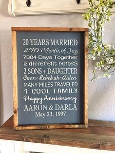 Items similar to Anniversary Sign - 20 Years Married - Large Wood Sign - Framed Subway Sign - Farmhouse Sign - Annoversaey Gift - Twenty Year Anniversary on Etsy Babe Quotes, Photo Quotes, Anniversary Gifts For Parents, 30th Anniversary, Plywood Edge, U Bahn, Paint Primer, Paint Background, Types Of Painting