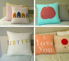 "I really like the ""I love you"" pillow....so simple, but sweet. Could maybe duplicate w/ some fabric paint and a stencil."