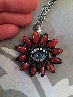 Kleine Auge Blume Anhänger Halskette blau
