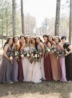 Autumnal berry shades for your bridesmaids #bridesmaid #dress #autumn #berry #wine #purple