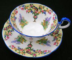 SALE - Aynsley art deco paradise blue bird blossom tree Tea cup and saucer doris