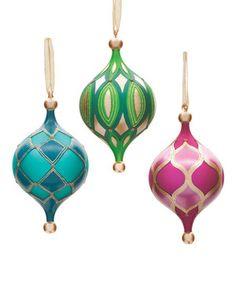 Look what I found on #zulily! Glass Geometric Ornament - Set of Three by DEMDACO #zulilyfinds