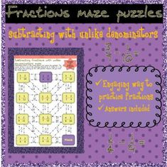 Adding fractions with like denominators mazes Adding And Subtracting Fractions, Maze Puzzles, Bell Ringers, Test Prep, Differentiation, Fun Activities, Students, Ads, Homework