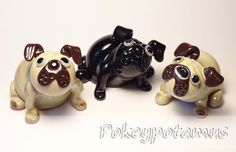 Little glass pugs! facebook.com/pokeypotamus