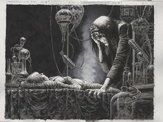 Bernie Wrightson - Frankenstein Alive Alive 3 pgs in Matt Moore's 6 - Bernie Wrightson Comic Art Gallery Room Horror Comics, Horror Art, Comic Books Art, Comic Art, Book Art, Bernie Wrightson, Call Of Cthulhu, Frank Frazetta, Famous Monsters