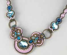 Soutache Necklace / khaki rosa turquiose by BeadsRainbow on Etsy
