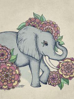 Little Elephant in soft vintage pastels Art Print