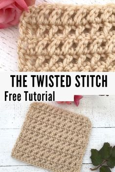 Free Crochet Pattern for the Twisted Stitch! Learn this beautiful and easy lace stitch pattern. Free pattern & tutorial apart of the Desert Blossom Stitch Along. Crochet Stitches For Blankets, Crochet Stitches Free, Crochet Stitches For Beginners, Crochet Motifs, Tunisian Crochet, Afghan Crochet Patterns, Crochet Squares, Crochet Basics, Easy Crochet