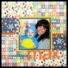"""""""Lil' Monster"""" 12x12 page layout using Echo Park """"Little Man"""" papers, and Bo Bunny """"Our Lil' Monster"""" combo stickers  12.2015 — Jill Kulchinsky"""
