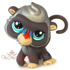 ✵Littlest Pet Shop✵LPS✵2309✵GRAY SILVER MONKEY BABOON✵SPECIAL EDITION✵RED✵BLUE✵