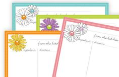Daisy Recipe Cards 4x6 Typeable pdf  instant by eloycedesigns, $4.00