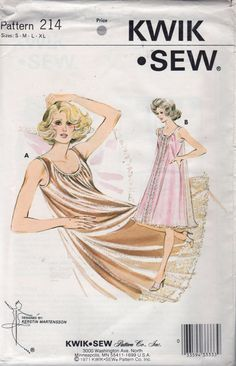 Kwik Sew 214 1970s  Misses Two Layer Nightgown Pattern Tricot and Sheer Womens Vintage Sewing Patterns  Size SM - XL  Bust 32 - 45 Uncut