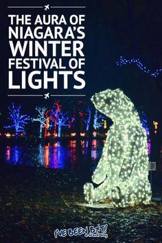I've Been Bit! A Travel Blog :: The Aura of Niagara's Winter Festival of Lights   Niagara Falls, Niagara Parks, Christmas, Christmas Lights, Snow  