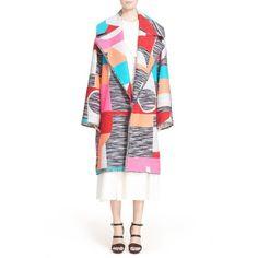 Roksanda 'Marles' Multicolor Woven Coat ($3,735) ❤ liked on Polyvore featuring outerwear, coats, fluro multi, long coat, oversized coat, roksanda, long white coat and white coat