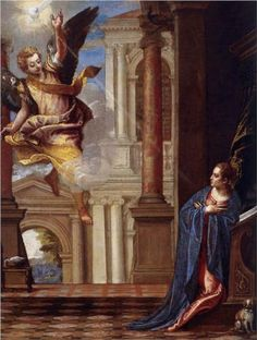 Annunciation - Paolo Veronese.  c.1560.  Oil on canvas.  110 x 87 cm.  Thyssen-Bornemisza Collection, Monastery of Pedralbes, Barcelona, Spain.