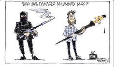 violent radicals vs. satirical cartoons