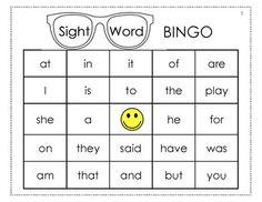 Kindergarten Eyes template Word  Sight Sight Classroom printable Bingo, word Word Bingo, sight bingo