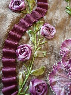 Ribbon Embroidery Patterns silk embroidery and ribbon (a long narrow bead in each of the valleys of that ribbon would be pretty. Learn Embroidery, Silk Ribbon Embroidery, Embroidery For Beginners, Hand Embroidery Patterns, Embroidery Techniques, Embroidery Kits, Embroidery Stitches, Machine Embroidery, Embroidery Designs