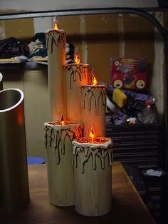 Here are a couple of pixs of some piller candles I made to put on The Pipe organ I'm building. Halloween Candles, Halloween Ideas, Spooky Scary, Creepy, Projects To Try, Holidays, Canning, Google Search, Fun