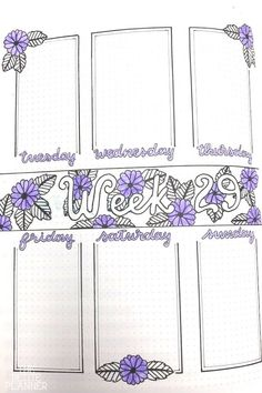Bullet Journal Spread Ideas. Bullet Journal Weekly Layout with purple flowers. Ideas for creating a personalized and creative weekly spread, but simple enough it doesn't need a ton of time.  Boxes, doodles, lettering and more, check out these ideas.