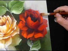 Como pintar una rosa al oleo - Pinceladas - Silvia Mongelos - - YouTube