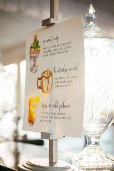 Hand Lettered Signature cocktail menu    Batch cocktails   Kindred Event Studio   Southern Fried Paper