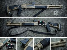 DIY – adding some post-apocalyptic look to this budget shotgun replica (GFG27) from Gunfire.pl :  • paintjob + aging by using wiping cloth with some solvent, • homemade removable shells holder on velcro strap, • adding compact red dot sight – MRDS replica,  • stippling on the front grip – provides better adhesion and faster reloads • porting at the end of outer barrel – in real firearm it results in a reduction of recoil and a reduction in muzzle climb.  gearaddicts.pl