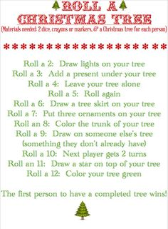 this sounds like a fun activity BLISSFUL ROOTS: Roll a Christmas Tree (Game )A fun thing to do for a family Christmas! Christmas Tree Game, Christmas Party Games, Xmas Party, Christmas Activities, Family Christmas, Christmas Traditions, Winter Christmas, Christmas Crafts, Christmas Ideas
