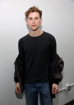 Actor Tommy Dorfman at the Carmen Marc Valvo runway show during New York Fashion Week.