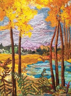 """www.coastweekend.com  Created by artist Kathleen Nevik, this fiber art piece is called """"Confetti Aspens"""" and was inspired by a photo taken by Ray Atkeson of the Klamath Falls Basin. Nevik's piece is an explosion of fall-colored, hand-dyed fabrics wildly stitched together in a zigzag fashion."""