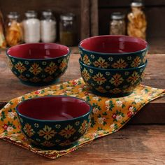 The Pioneer Woman Vintage Geo Teal 6 inch Non-Footed Bowl Set, 4-Pack, Multicolor