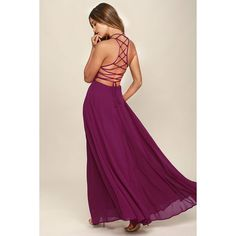 Strappy to be Here Magenta Maxi Dress (375 CNY) ❤ liked on Polyvore featuring dresses, pink, floor length maxi skirt, pink dress, strappy maxi dress, purple maxi dress and purple maxi skirt