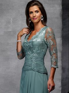Classical V-neck 3/4 sleeves Pleated Lacing Appliques Mother of Groom and Bride Dress (MD-030)