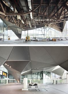 Montaje de los techos en las zona de hall. Estación de alta velocidad de Logroño por Ábalos+Sentkiewicz Arquitectos. Fotografía © José Hevia...