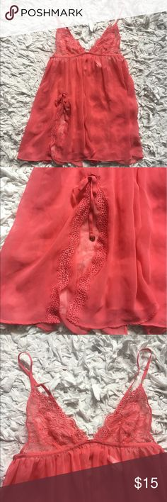 Victoria's Secret Very Sexy Sheer Lingerie Good used condition. Coral pink. Open back. Size: small Victoria's Secret Intimates & Sleepwear Chemises & Slips