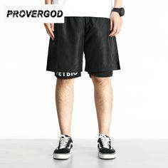 0c74c8f044 PROVERGOD High Street Summer Mens Shorts Hip Hop Fitness Shorts Fashion  Streetwear False Two Piece Calf Length Jogger-in Shorts from Men's Clothing  ...