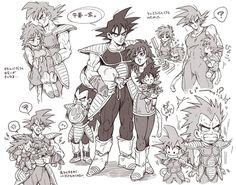 Bardock, Gine, Goku, and Raditz