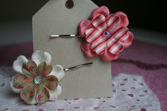Set of Two Handmade Embellished Paper Flower Hair by DefaultToLove, $5.00