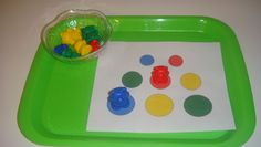 Toddler School Tray: Match Counting Bears to correct color and size. could do with pom poms