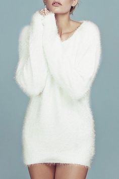 sweater white cute fall outfits winter outfits warm cozy fur long sleeves casual jumper mohair fuzzy sweater dress sweater dress - All About Fashion Teen Fashion Outfits, Trendy Fashion, Fall Fashion, Style Fashion, Cute Fall Outfits, Winter Outfits, Dress Winter, Long Sweaters, Sweaters For Women