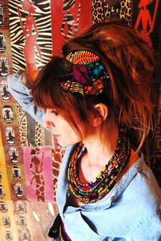 Serre-tête en feuille de wax -tissu africain- : Accessoires coiffure par kumbhaka