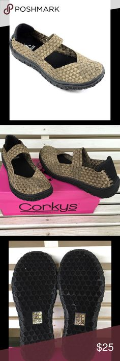 Corkys Weaved Mary Janes - Bronze NEW, NEVER WORN.  A ridged sole gives this shoe ground-gripping traction for a steady step. Woven leastic bands conform to the shape of your foot for custom comfort.  Super comfy and great for wearing to work or on your feet all day.  1'' platform Textile upper Man-made lining Man-made sole COLOR: Bronze Corkys Shoes