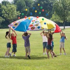 Throw a parachute party! Great for socializing, strengthening wrist, and hand-eye coordination.