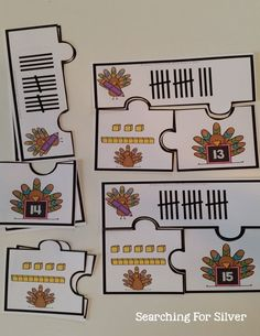 Turkey Number Puzzles and other FUN and hands-on math and literacy centers for THANKSGIVING!