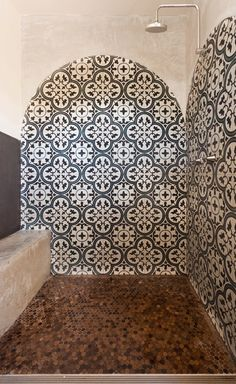 Bathroom with moroccan tile and concrete Handmade tiles can be colour coordinated and customized re. shape, texture, pattern, etc. by ceramic design studios Bathroom Floor Tiles, Wall Tiles, Bar Design, House Design, Design Ideas, Moroccan Tiles, Moroccan Bathroom, Modern Bathroom, Wet Rooms
