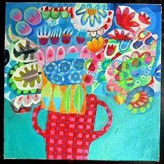 Original acrylic painting box canvas, colourful, garden, floral, modern, flowers