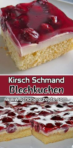 Cherry sour cream cake recipe - quick easy cake recipes- Kirsch Schmand Blechkuchen Rezept – Schnelle Einfache Kuchen Rezepte Cherry – sour cream – sheet cake recipe – very tasty and … - Easy Cookie Recipes, Cupcake Recipes, Dessert Recipes, Sour Cream Cake, Bon Dessert, Sheet Cake Recipes, Recipe Sheet, Nutritious Snacks, Cake Mix Cookies