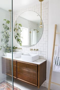 Bathroom Mirror Ideas - master bathroom renovation // before & after // sarah sherman samuel Bathroom Renovation, Bathroom Inspiration, Amazing Bathrooms, Trendy Bathroom, Bathrooms Remodel, Round Mirror Bathroom, Chic Bathrooms, Tile Bathroom, Bathroom Renovations