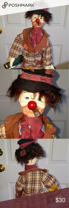 Hobo the Clown Doll on a stand This is a very old doll that is on a stand that was known as hobo the clown which was out in the 80s. He is still in superb condition and has been in a curio cabinet for years period he stands 22 inches tall and approximately 7 to 8 inches wide. Hobo the Clown Other